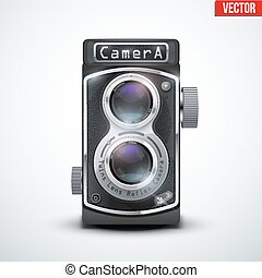 Vintage twin lens reflex camera with closed viewfinder. ...