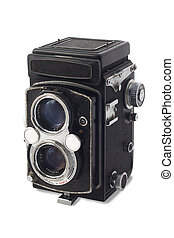 Vintage twin-lens reflex old camera isolated on white ...
