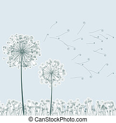 Vintage two dandelions in wind. EPS8