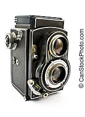 Vintage two lens photo camera isolated on white