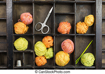 vintage type case with balls of yarn