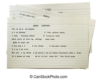 Vintage Typed Recipe for Anzac Biscuits