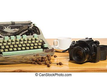 vintage typewriter and camera
