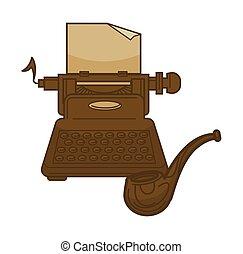 Vintage typewriter and writer old smoking pipe vector icons...