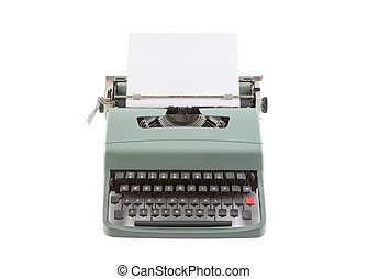 Vintage typewriter header with paper isolated on white