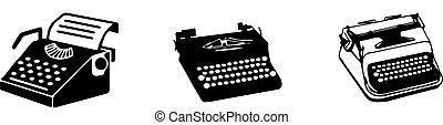 vintage typewriter icon isolated on white background