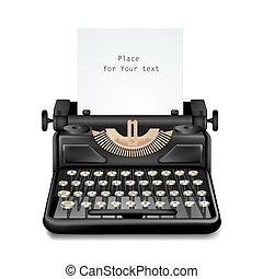 Vintage Typewriter Isolated Editable - Isolated realistic ...