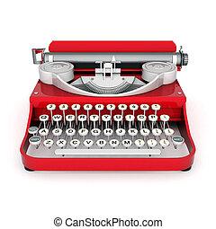 vintage typewriter isolated on white background