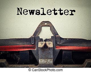 Vintage typewriter newsletter text