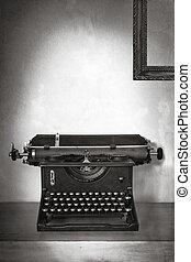 Vintage Typewriter on Old Desk with Grunge Background