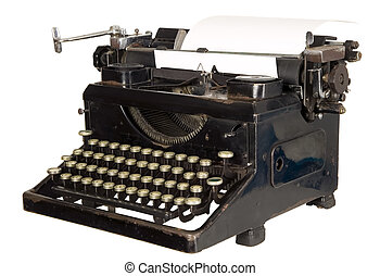 Vintage typewriter on white background - Old antique white...