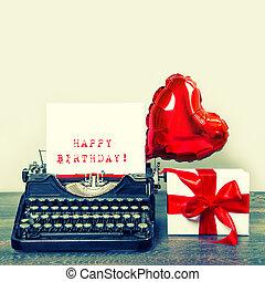 Vintage typewriter red heart balloon gift box Happy Birthday