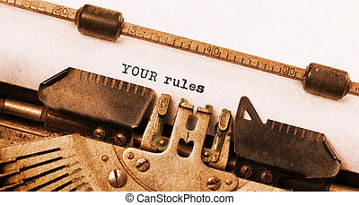 Vintage typewriter, old rusty, warm yellow filter - Your...
