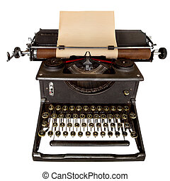 Vintage manual typewriter, with sheet of aged notepaper providing copy space. Isolated on white. Shot with Canon 5D MkII.