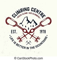 Vintage typography design with carabiners, condor and...