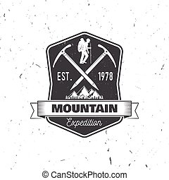 Vintage typography design with ice ax and mountain...