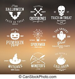 Vintage Typography Halloween Vector Badges or Logos Pumpkin...