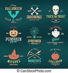 Vintage Typography Halloween Vector Color Badges or Logos...