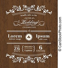 Vintage typography Wedding invitation design template on wooden background
