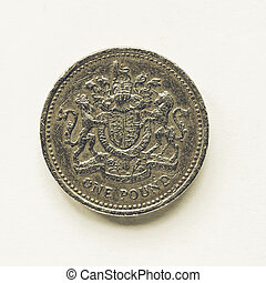 Vintage UK 1 Pound coin - Vintage looking Currency of the ...