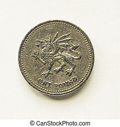 Vintage looking Currency of the United Kingdom 1 Pound coin