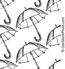 Vintage umbrella in sketch style