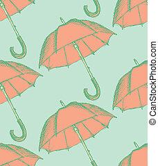 Vintage umbrella in sketch style