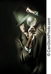 Vintage Undercover Spy On Dark Background - Dark Studio...