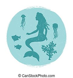 Vintage underwater life label. Mermaid and fishes, jellyfish...