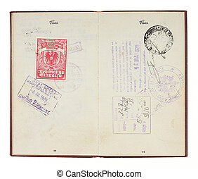 Vintage United States Passport 1928 Stamps