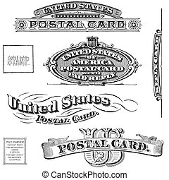 Old, distressed black and white United States post card elements from 1890 - 1910. Isolated on white.