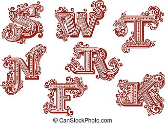 Elegant uppercase red letters in vintage swirly style ornated by twisted lines, curlicues and dots isolated on white background. Letters F, K, N, R, S, T, W
