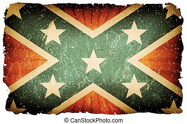 Vintage US Confederate Flag Poster Background