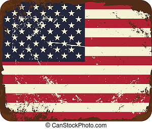 Vintage US Flag - Vintage metal sign with the American flag.