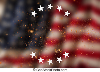 Vintage USA flag background, close-up.