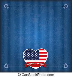 Vintage USA Heart God Bless America