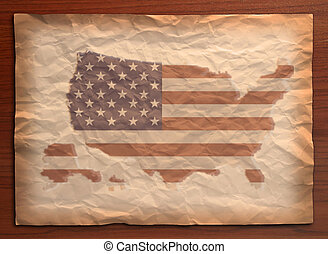 vintage usa map on paper craft - USA Map with flag on...
