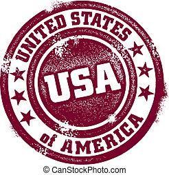 Vintage USA Stamp - Vintage style distressed United States...