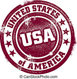 Vintage style distressed United States of America stamp.