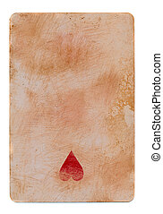 vintage used playing card paper background with one red heart