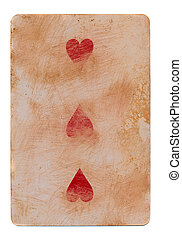 vintage used playing card with red hearts background