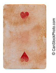 vintage used playing card with red hearts paper background