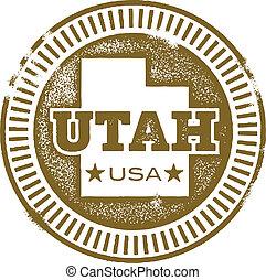 Vintage style Utah state rubber stamp.
