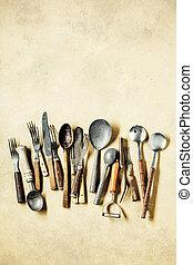 Vintage utensils, spoons, forks and knifes