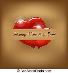 Vintage Valentine Background With Hearts