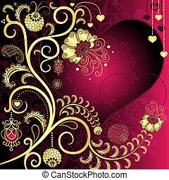 Vintage valentine card - Purple and gold vintage valentine...