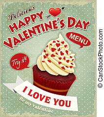 Vintage Valentine cupcake poster de