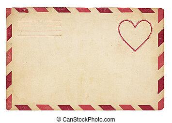 Vintage Valentine Envelope - The front of an vintage...
