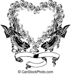 Vintage Valentine heart wreath illustration with cupids.