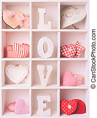 Vintage valentine set in white shabby chic cells